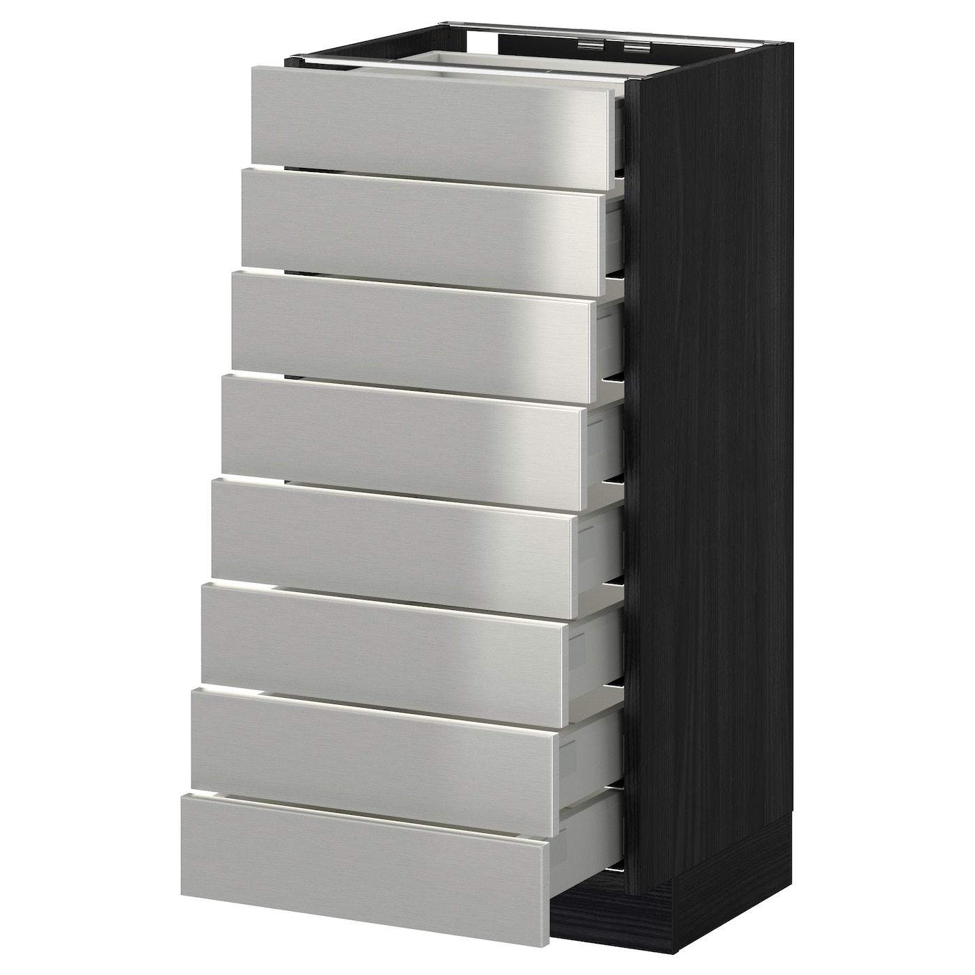 Metod Maximera Base Cabinet 8 Fronts 8 Low Drawers Black Grevsta Stainless Steel 40x37 Cm Ikea