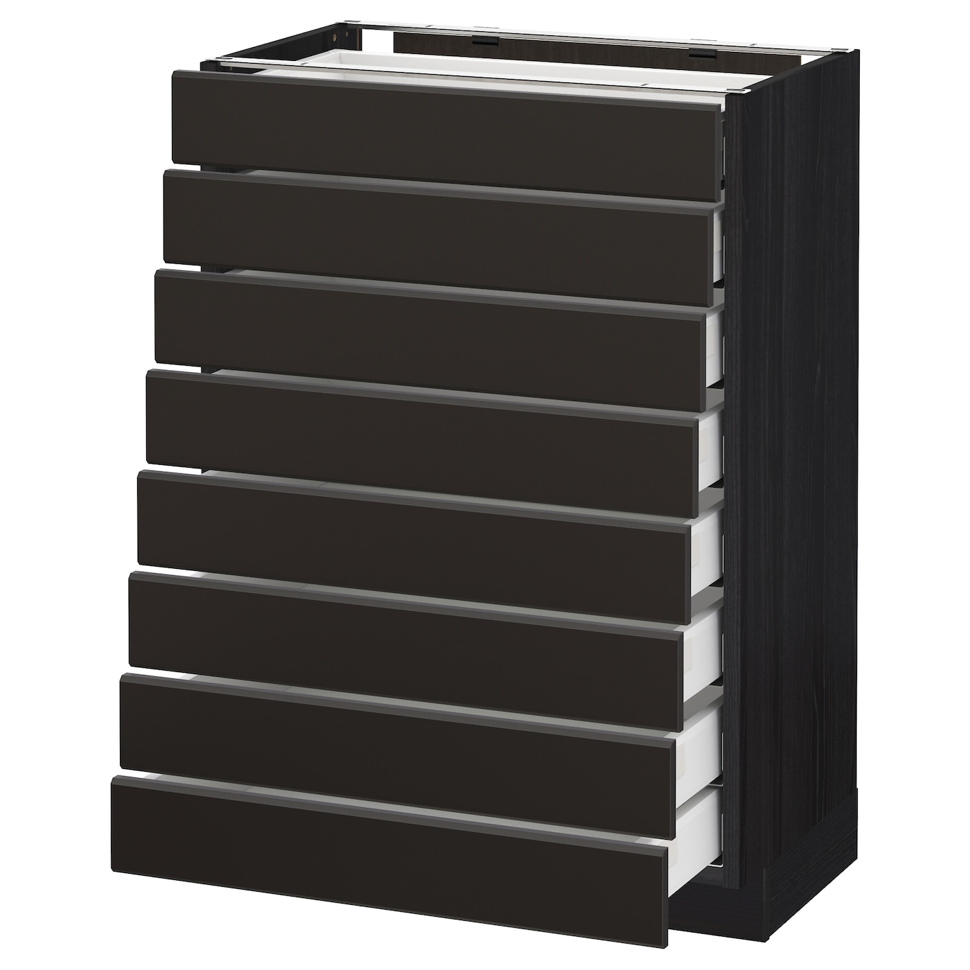 Metod Maximera Base Cabinet 8 Fronts 8 Low Drawers Black Kungsbacka Anthracite 60x37 Cm Ikea