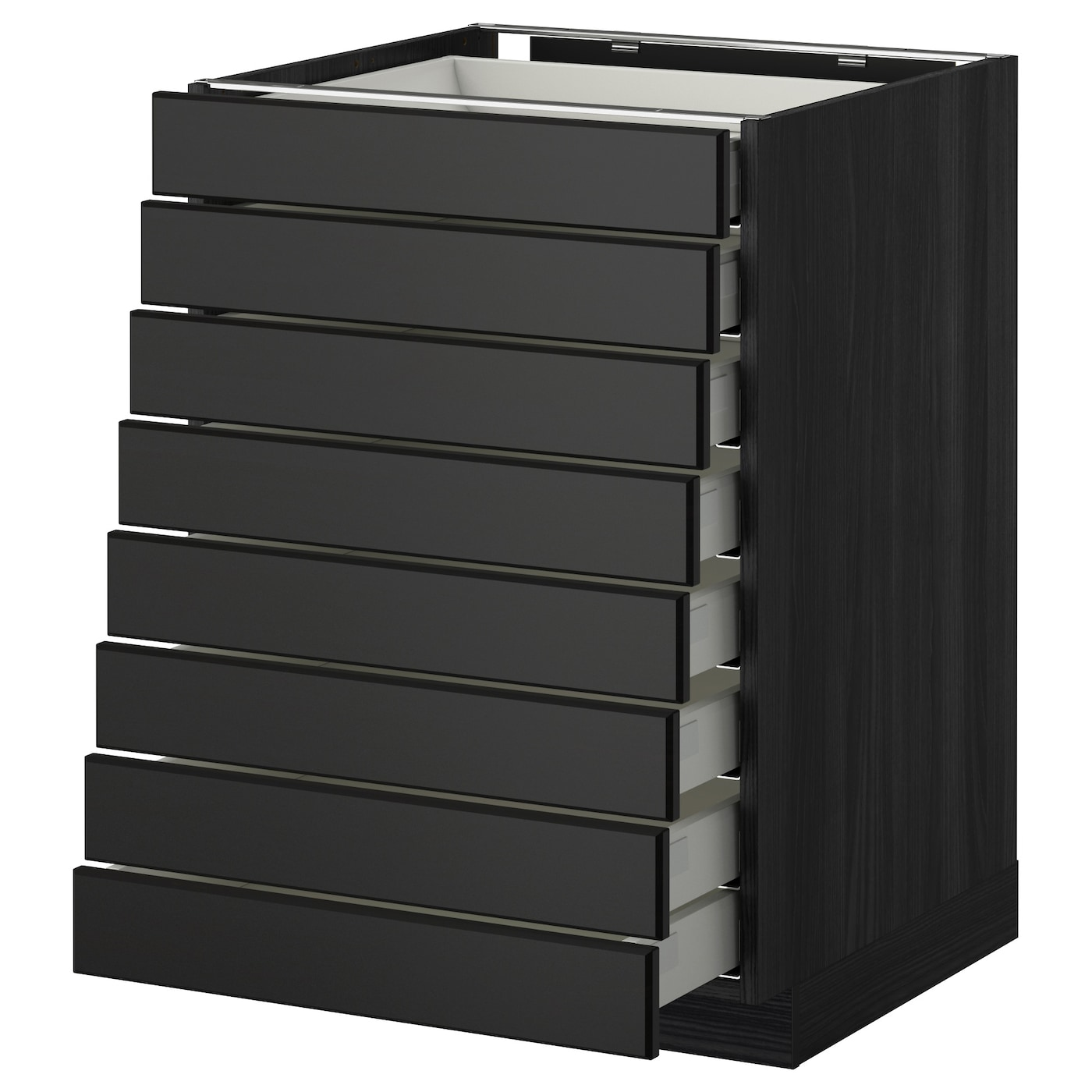 metod maximera base cabinet 8 fronts 8 low drawers black laxarby black brown 60x60 cm ikea. Black Bedroom Furniture Sets. Home Design Ideas