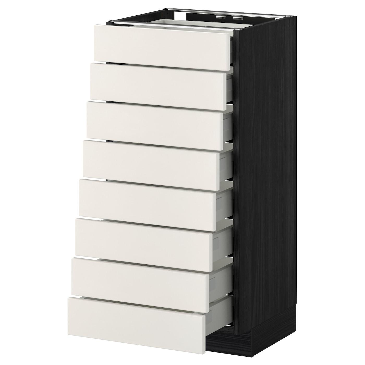 Metod Maximera Base Cabinet 8 Fronts 8 Low Drawers Black Veddinge White 40x37 Cm Ikea
