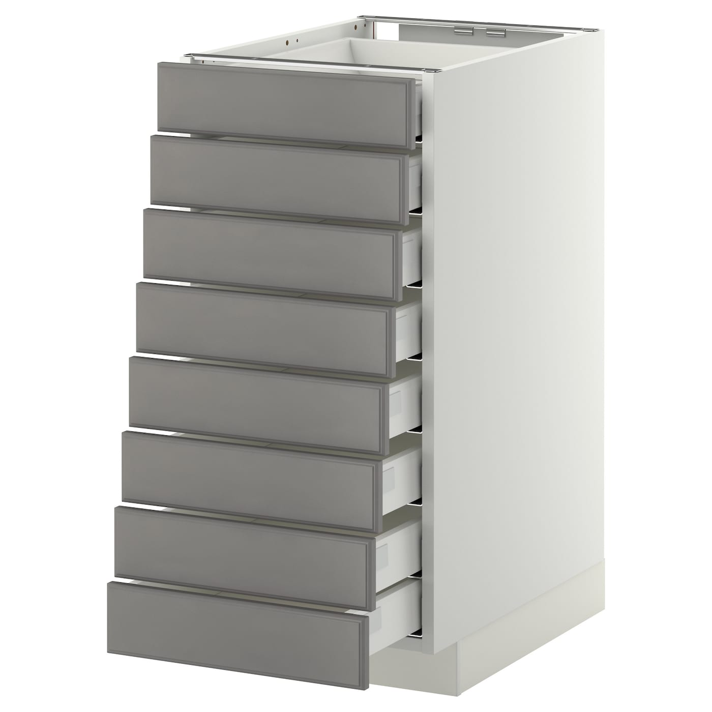 Metod Maximera Base Cabinet 8 Fronts 8 Low Drawers White Bodbyn Grey 40x60 Cm Ikea