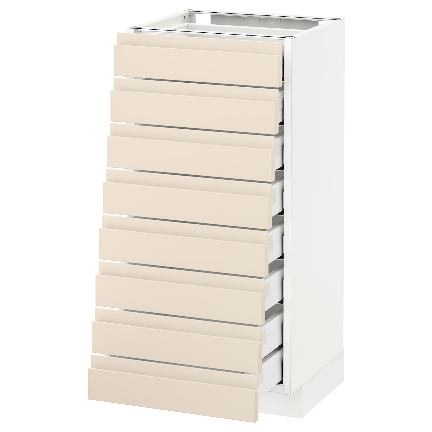 Metod Maximera Base Cabinet 8 Fronts 8 Low Drawers White Voxtorp Light Beige 40x37 Cm Ikea