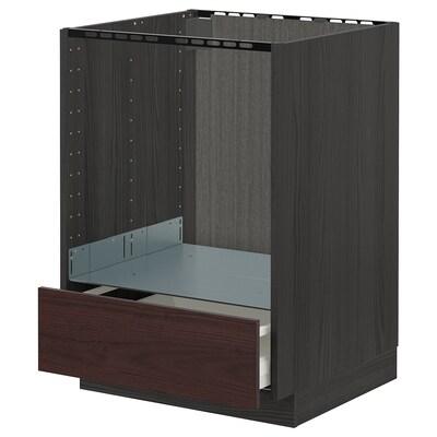 METOD / MAXIMERA base cabinet for oven with drawer black Askersund/dark brown ash effect 60.0 cm 61.6 cm 88.0 cm 60.0 cm 80.0 cm