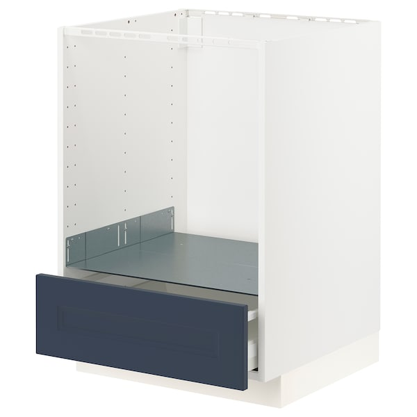 METOD / MAXIMERA Base cabinet for oven with drawer, white Axstad/matt blue, 60x60 cm