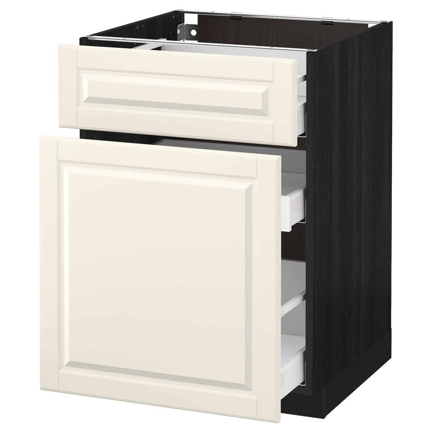 Ikea Kitchen Black Cabinets: METOD/MAXIMERA Base Cabinet/p-out Storage/drawer Black/bodbyn Off-white 60 X 60 Cm