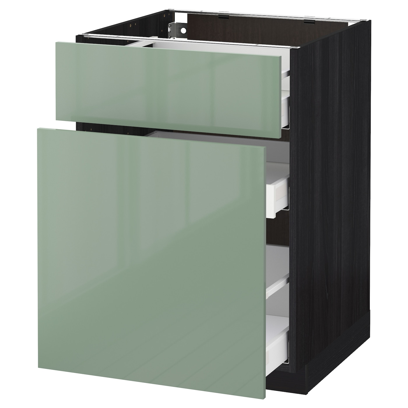 Metod maximera base cabinet p out storage drawer black kallarp light green 60x60 cm ikea - Green kitchen cabinets storage ...