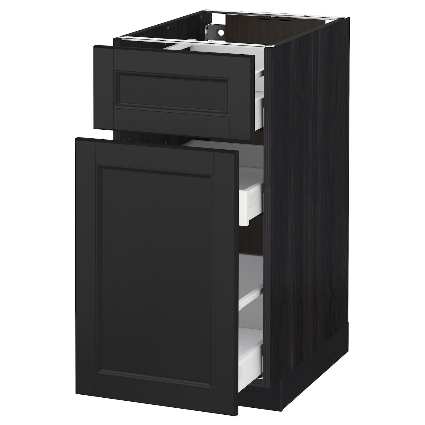 metod maximera base cabinet p out storage drawer black laxarby black brown 40x60 cm ikea. Black Bedroom Furniture Sets. Home Design Ideas