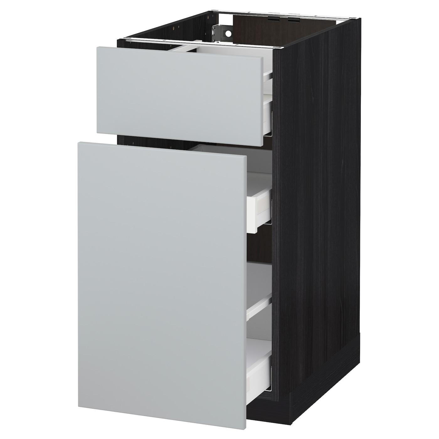 metod maximera base cabinet p out storage drawer black veddinge grey 40 x 60 cm ikea. Black Bedroom Furniture Sets. Home Design Ideas