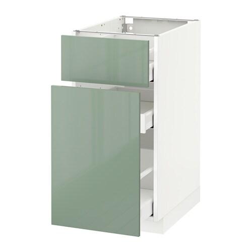 Metod maximera base cabinet p out storage drawer white kallarp light green 40x60 cm ikea - Green kitchen cabinets storage ...