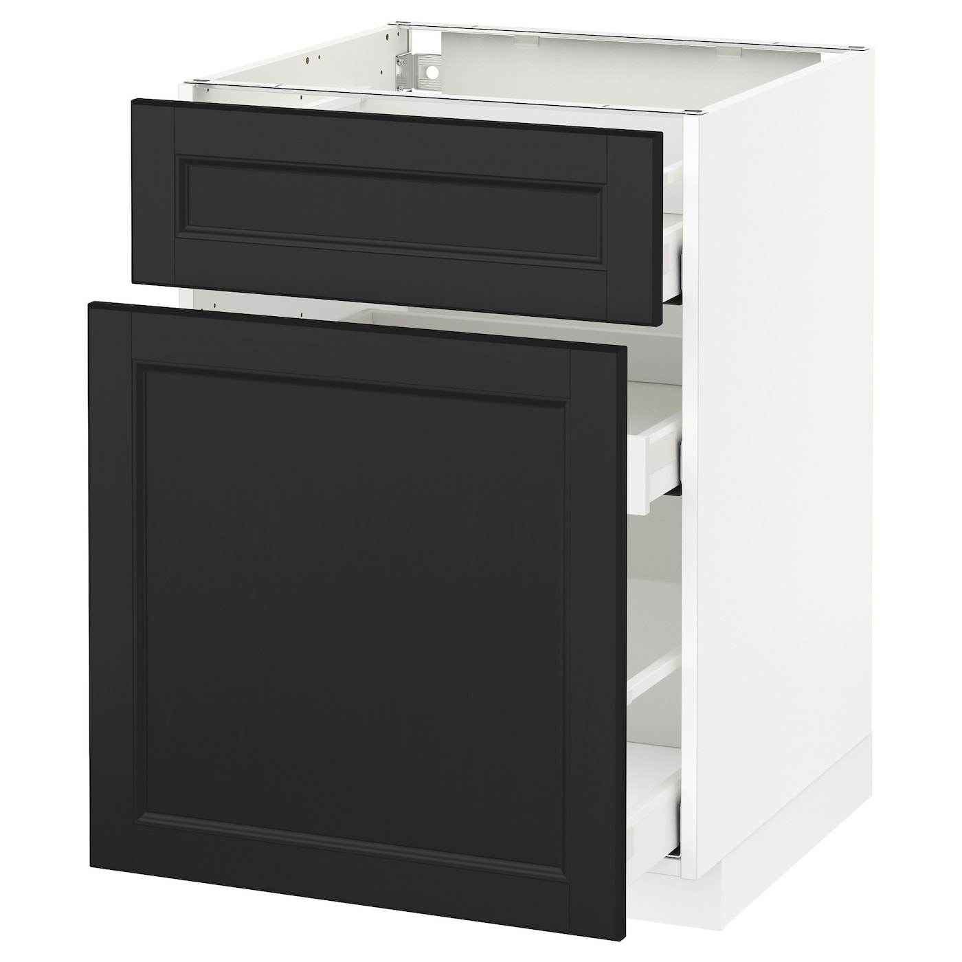 metod maximera base cabinet p out storage drawer white laxarby black brown 60x60 cm ikea. Black Bedroom Furniture Sets. Home Design Ideas