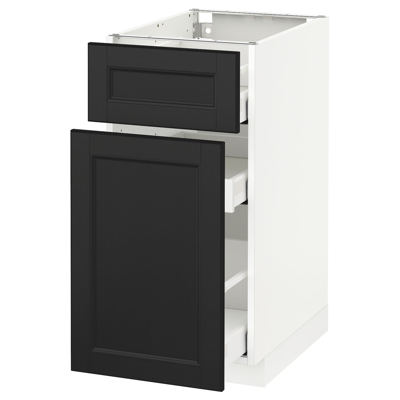 metod maximera base cabinet p out storage drawer white laxarby black brown 40x60 cm ikea. Black Bedroom Furniture Sets. Home Design Ideas