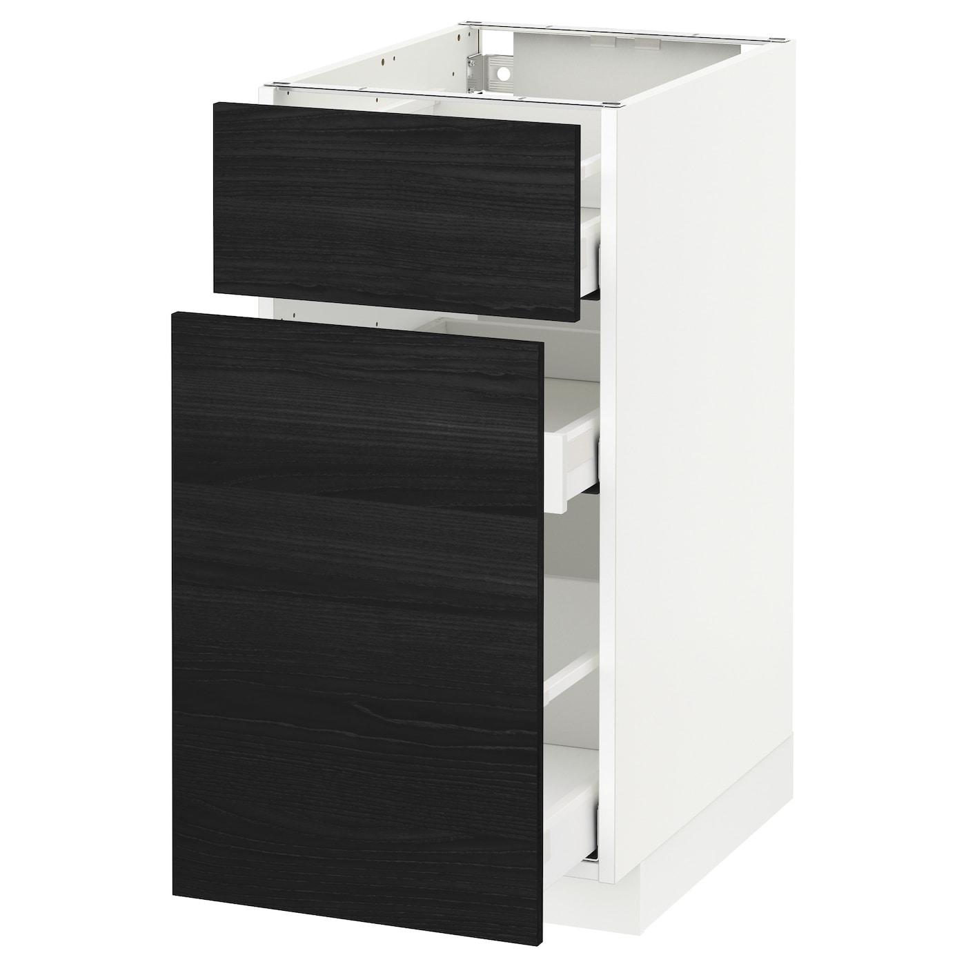 Metod maximera base cabinet p out storage drawer white for Black kitchen base cabinets