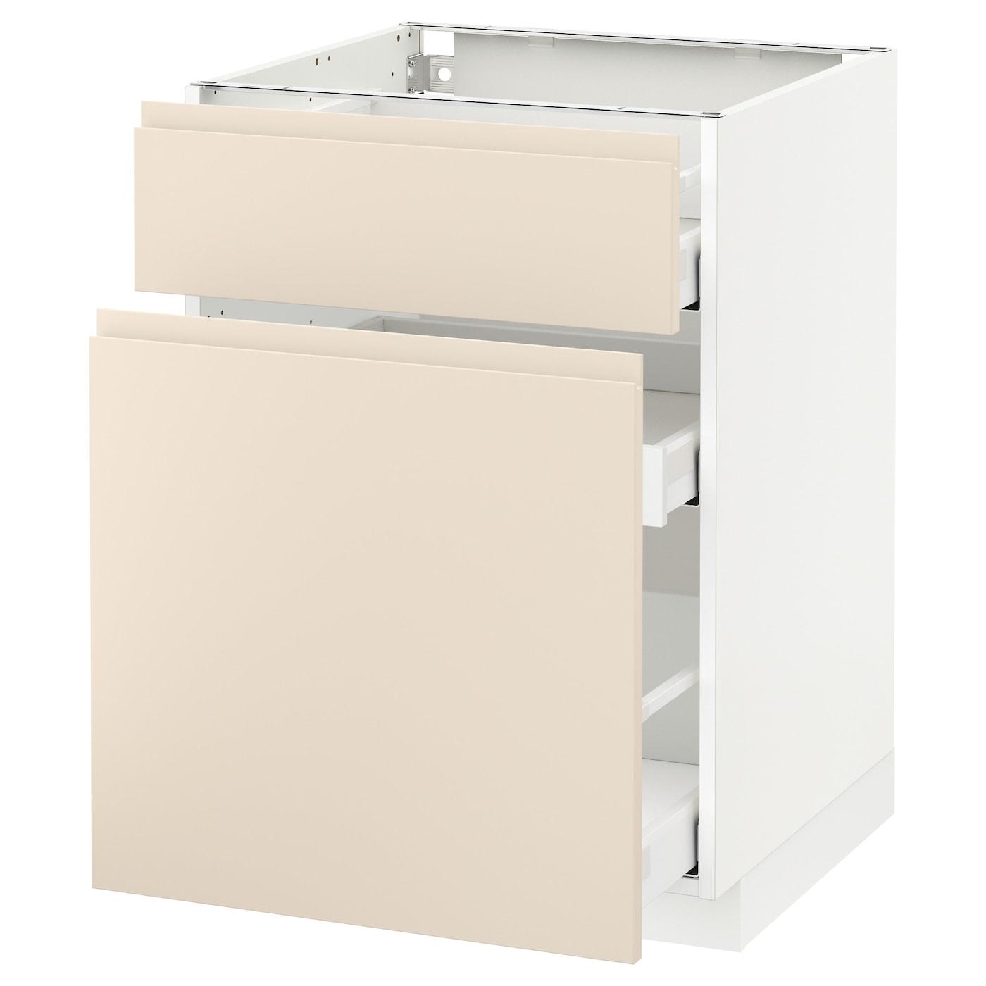 metod maximera base cabinet p out storage drawer white voxtorp light beige 60x60 cm ikea. Black Bedroom Furniture Sets. Home Design Ideas