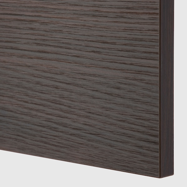 METOD / MAXIMERA Base cabinet/pull-out int fittings, black Askersund/dark brown ash effect, 20x60 cm