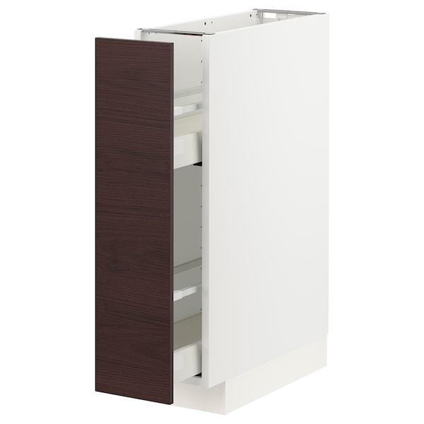 METOD / MAXIMERA Base cabinet/pull-out int fittings, white Askersund/dark brown ash effect, 20x60 cm
