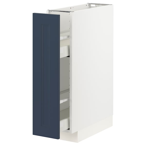 METOD / MAXIMERA Base cabinet/pull-out int fittings, white Axstad/matt blue, 20x60 cm