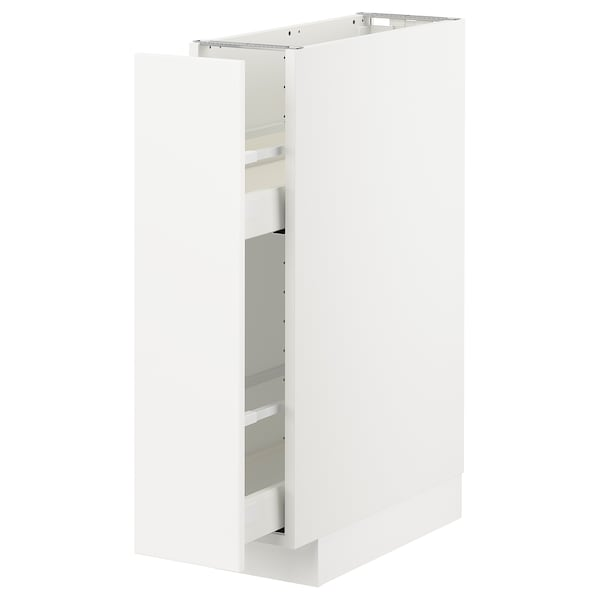 METOD / MAXIMERA Base cabinet/pull-out int fittings, white/Kungsbacka matt white, 20x60 cm