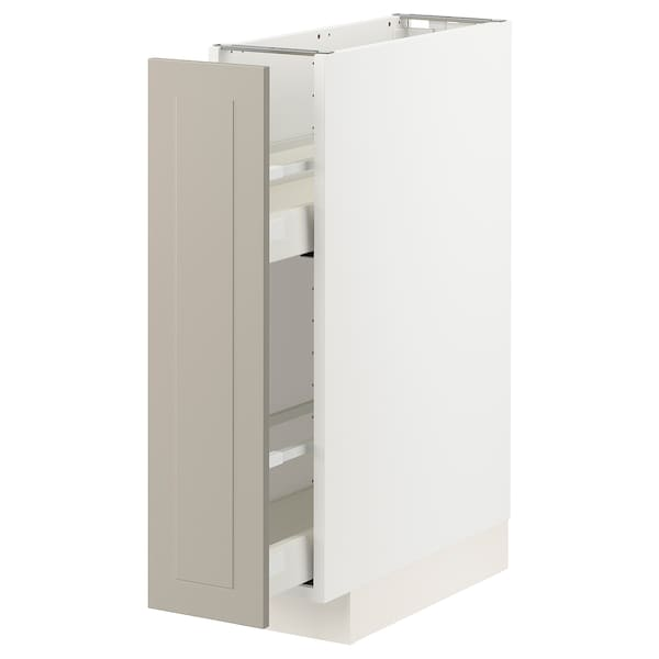 METOD / MAXIMERA Base cabinet/pull-out int fittings, white/Stensund beige, 20x60 cm