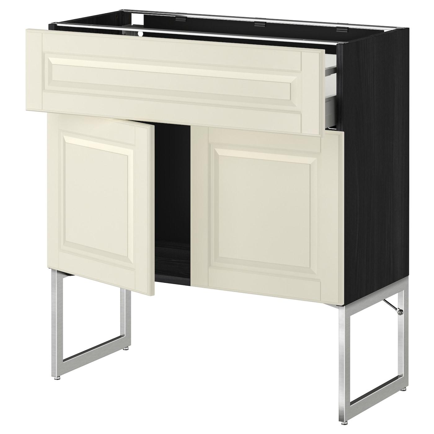 Metod maximera base cabinet shelves drawer 2 doors black for Black kitchen base cabinets