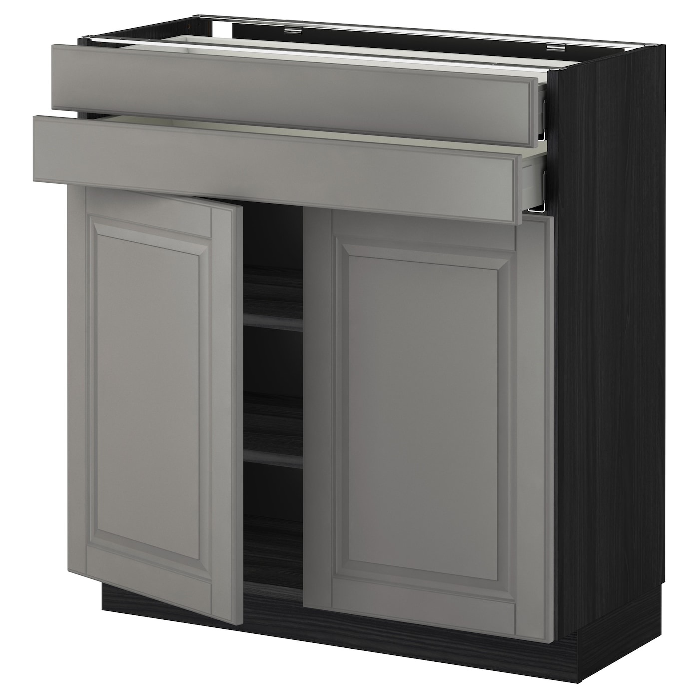 metod maximera base cabinet w 2 doors 2 drawers black bodbyn grey 80 x 37 cm ikea. Black Bedroom Furniture Sets. Home Design Ideas