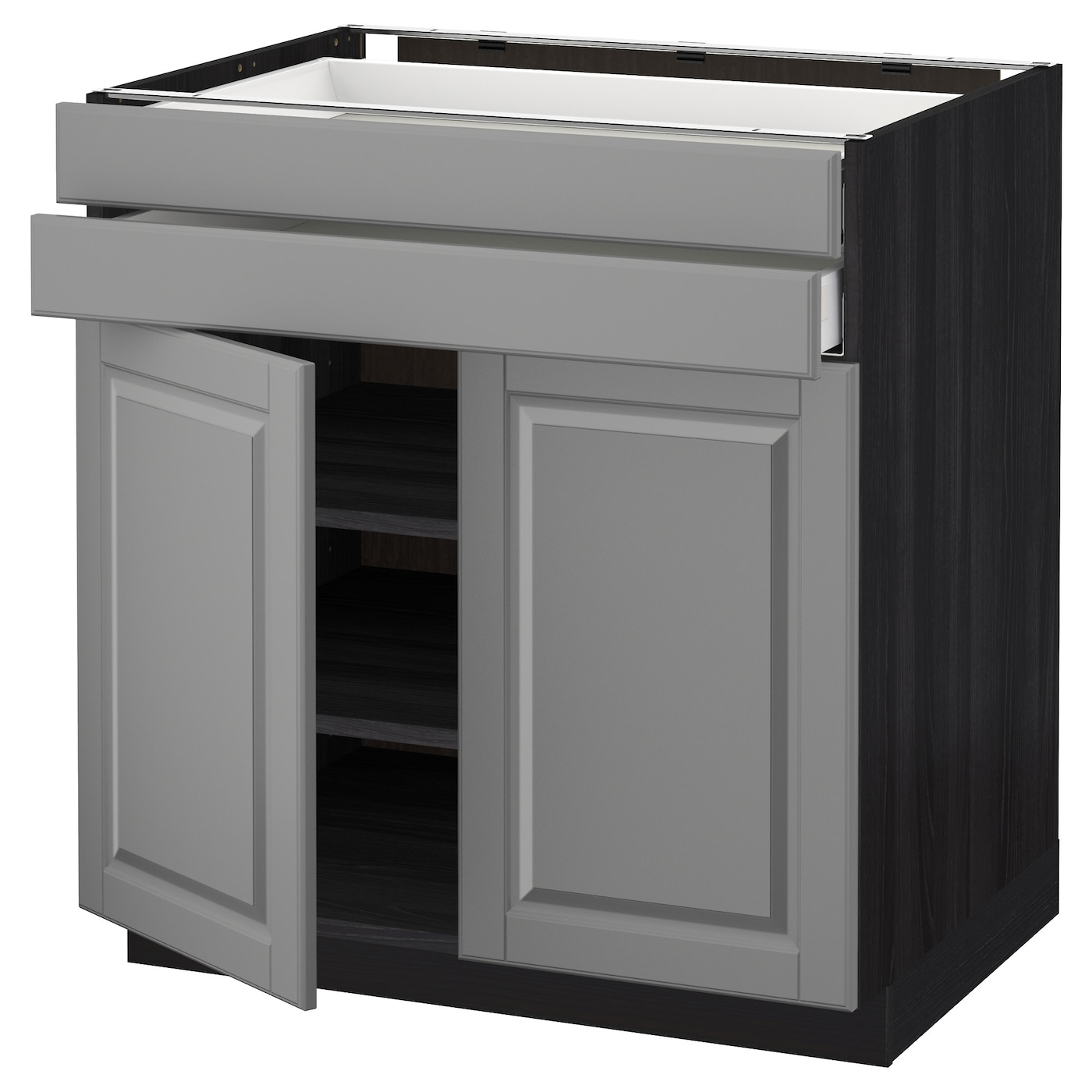 metod maximera base cabinet w 2 doors 2 drawers black bodbyn grey 80 x 60 cm ikea. Black Bedroom Furniture Sets. Home Design Ideas