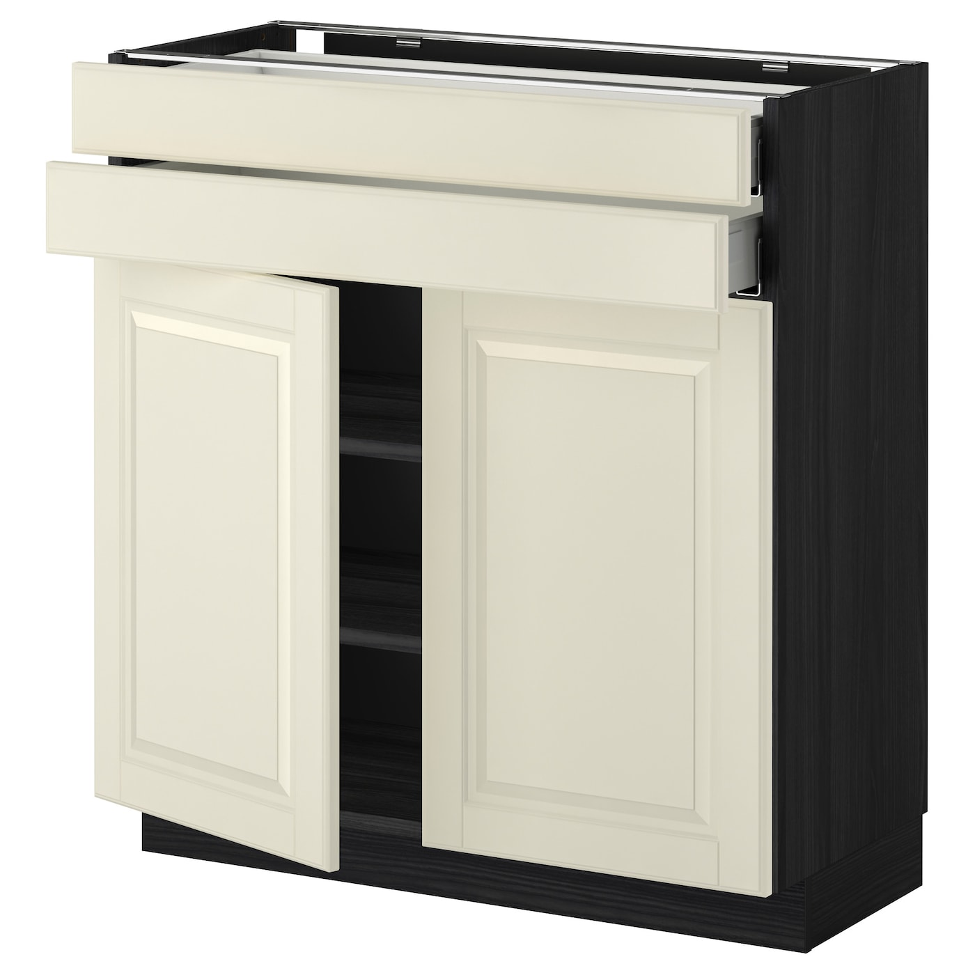 Metod Maximera Base Cabinet W 2 Doors 2 Drawers Black Bodbyn Off White 80x37 Cm Ikea