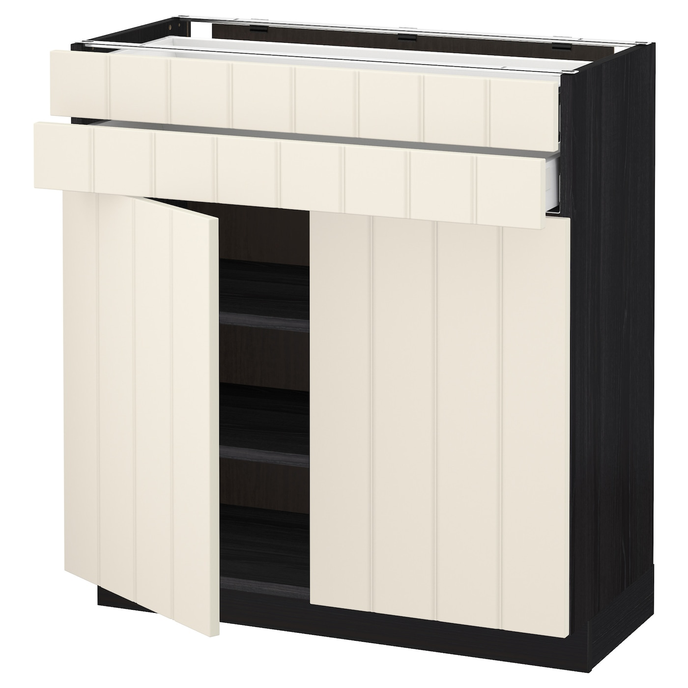 metod maximera base cabinet w 2 doors 2 drawers black hittarp off white 80x37 cm ikea. Black Bedroom Furniture Sets. Home Design Ideas