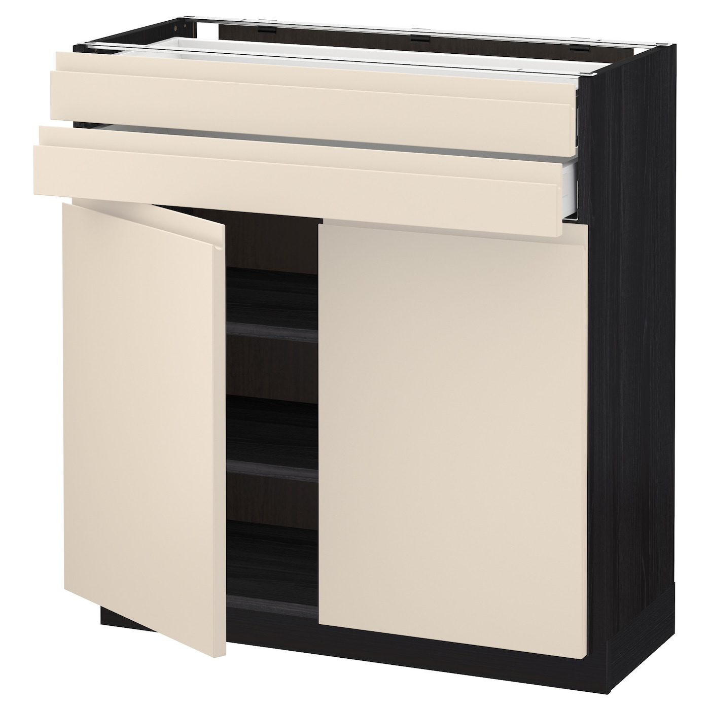 Metod Maximera Base Cabinet W 2 Doors 2 Drawers Black Voxtorp Light Beige 80x37 Cm Ikea