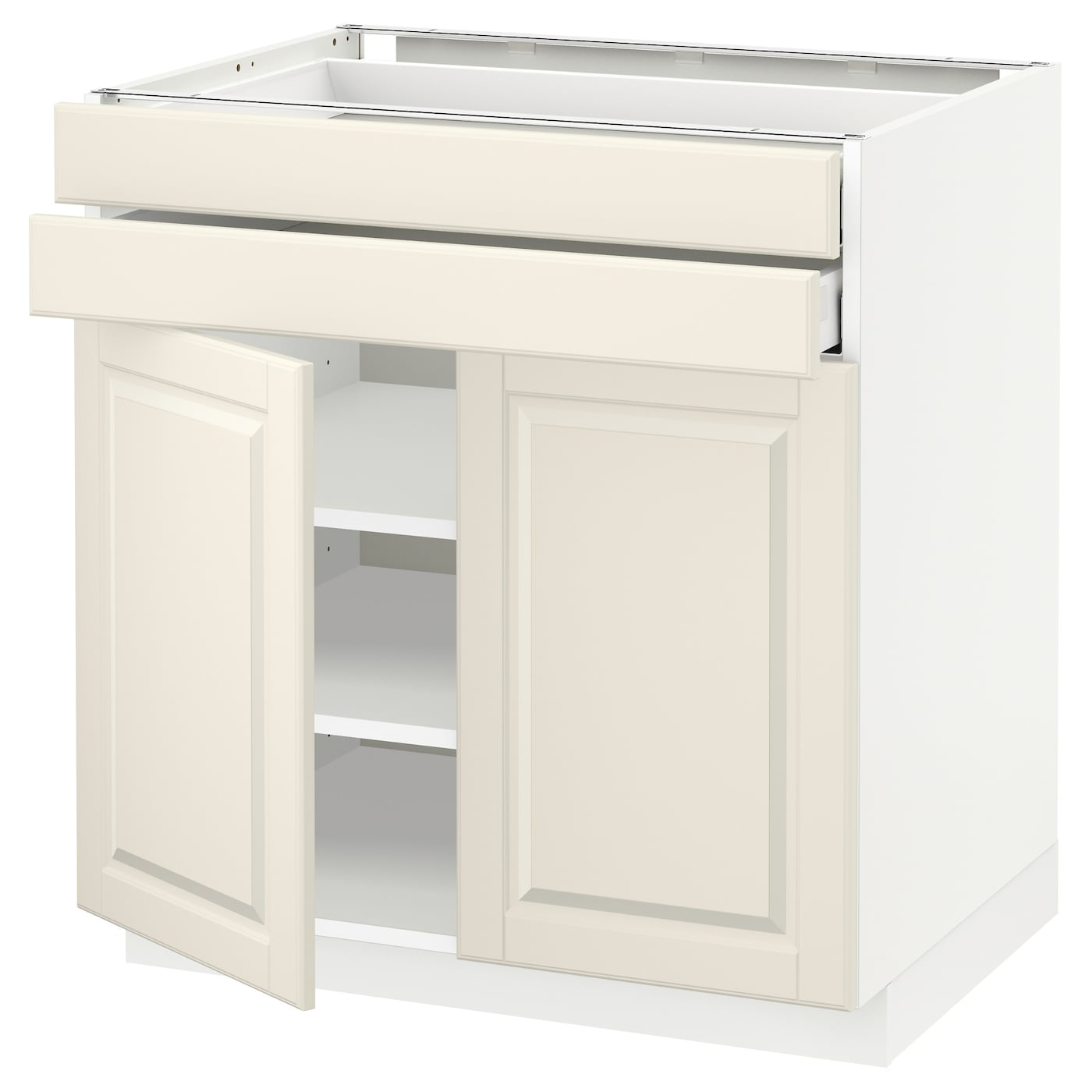 metod maximera base cabinet w 2 doors 2 drawers white bodbyn off white 80 x 60 cm ikea. Black Bedroom Furniture Sets. Home Design Ideas