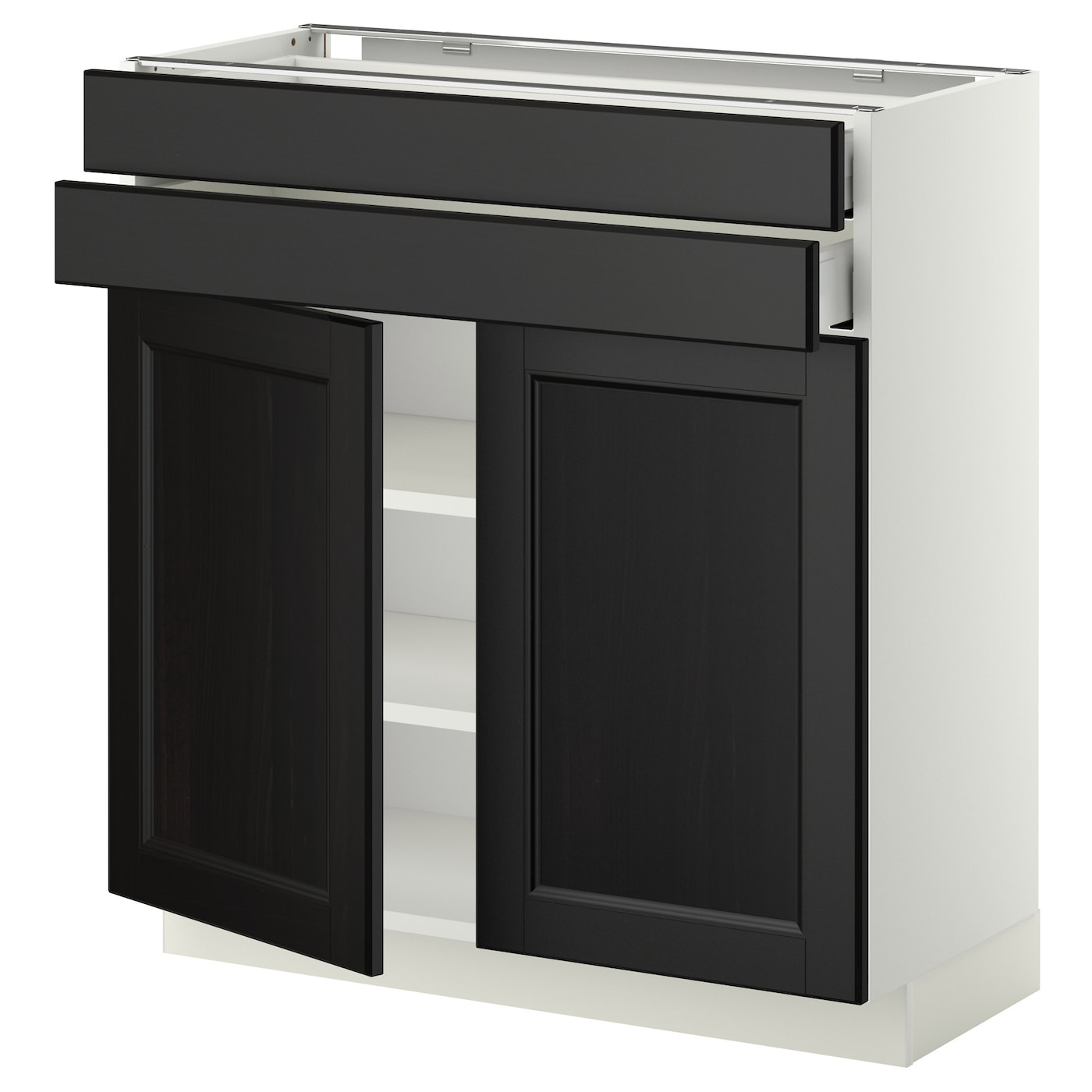 Metod maximera base cabinet w 2 doors 2 drawers white for Black kitchen base cabinets