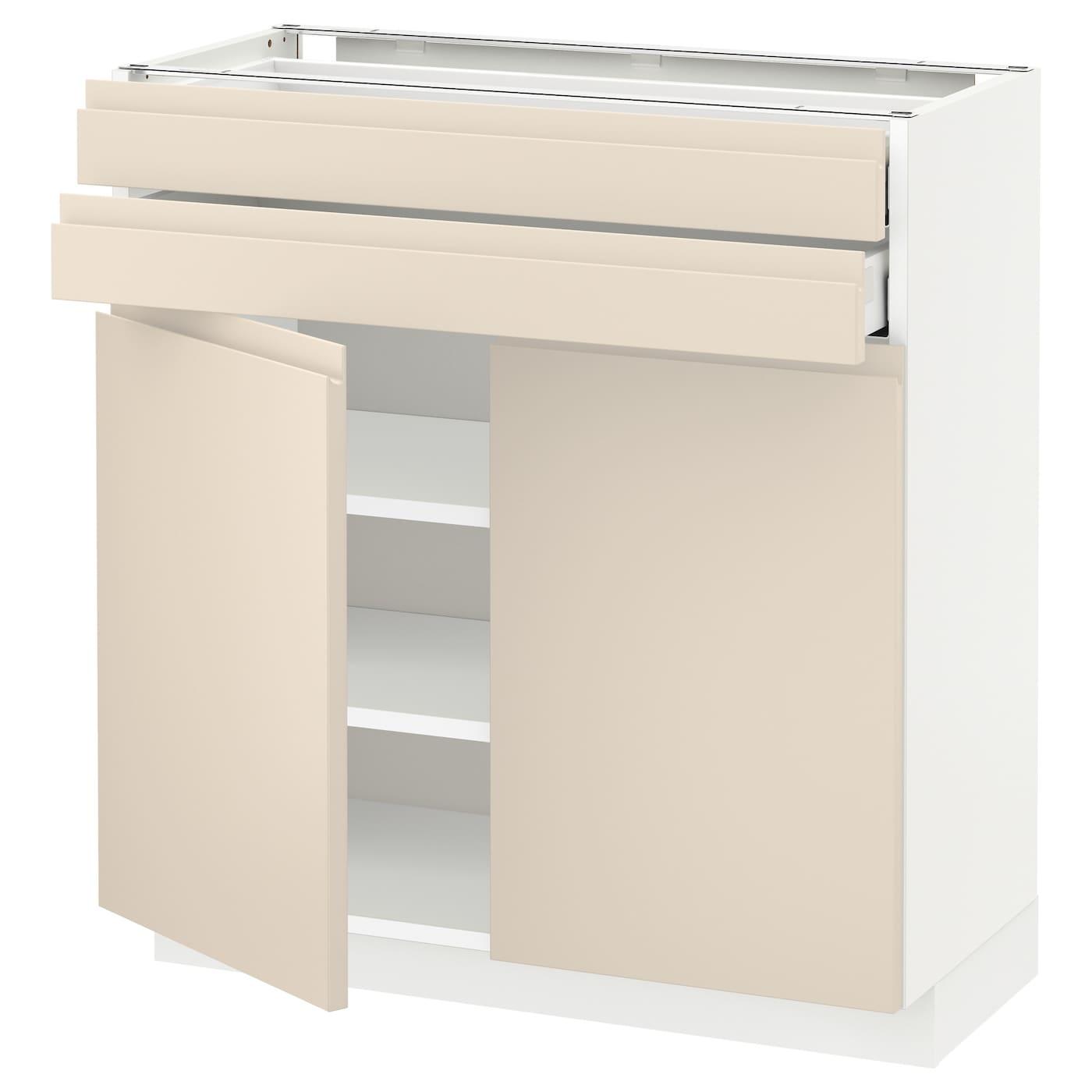 metod maximera base cabinet w 2 doors 2 drawers white voxtorp light beige 80x37 cm ikea. Black Bedroom Furniture Sets. Home Design Ideas