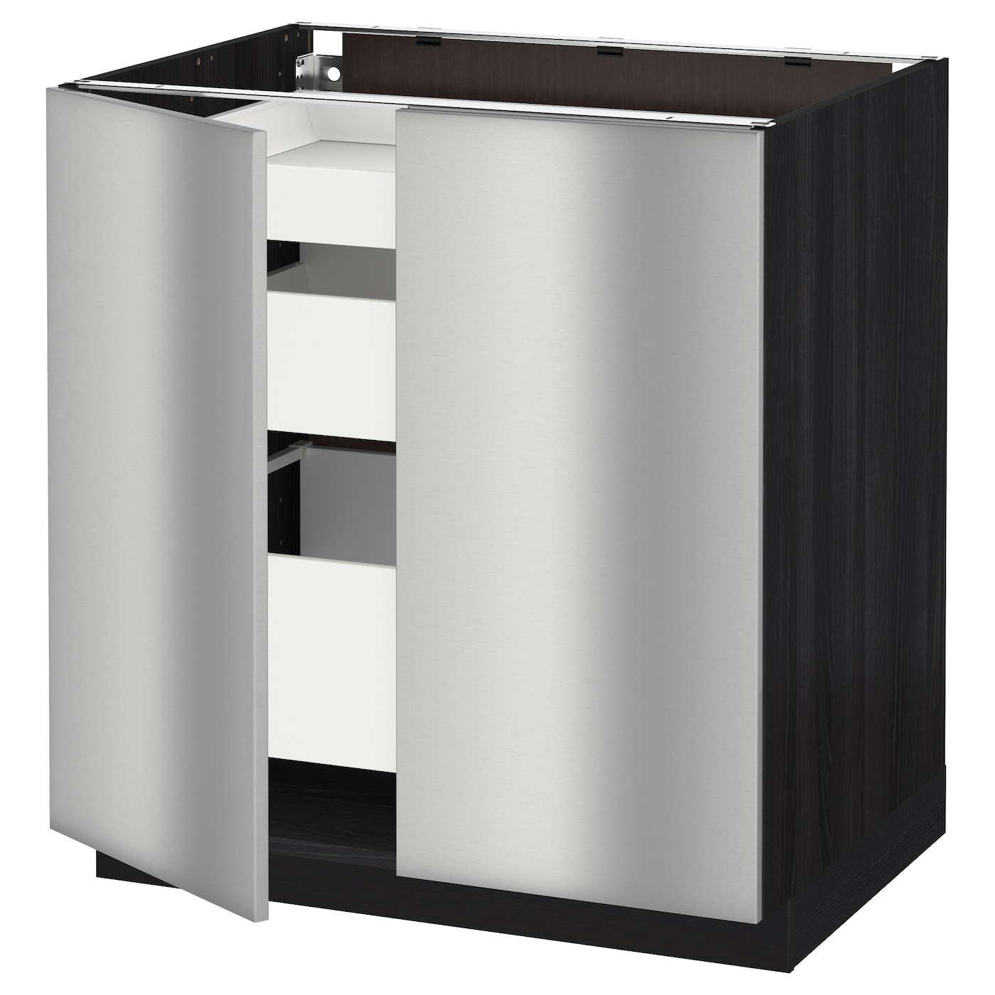 Metod maximera base cabinet w 2 doors 3 drawers black for Stainless steel kitchen base cabinets