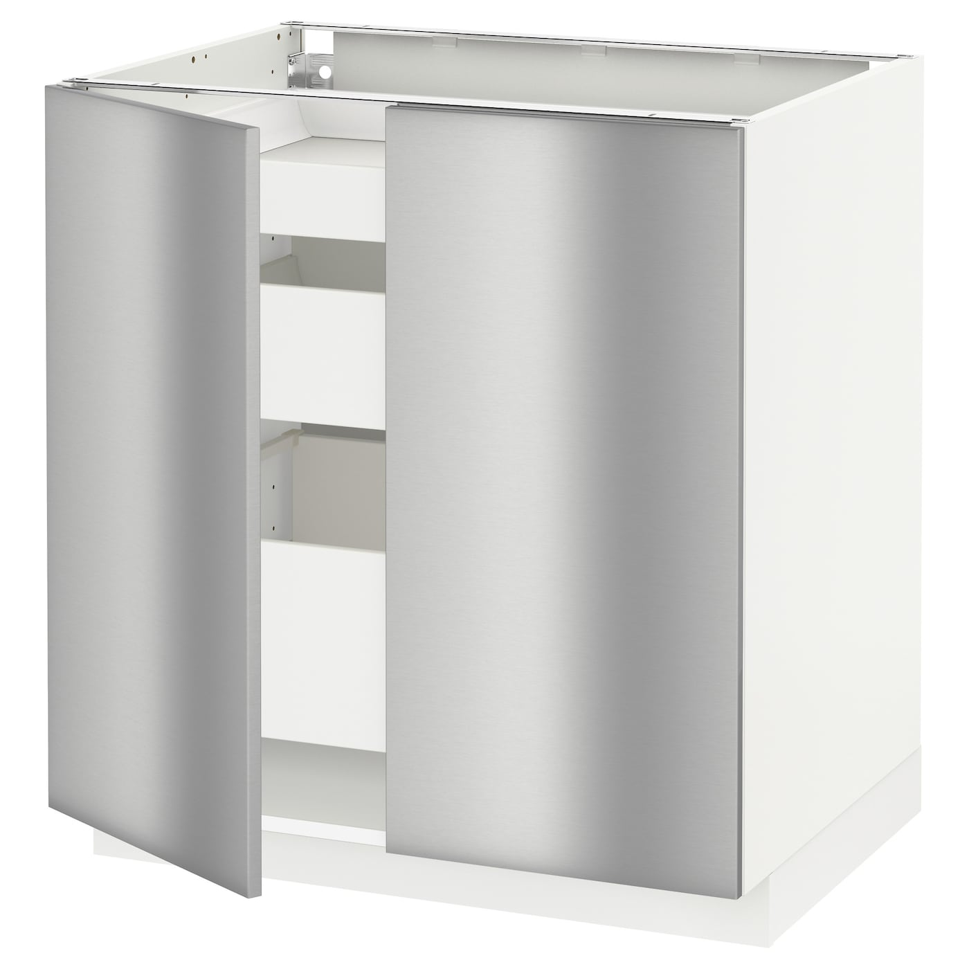 Stainless Steel Kitchen Base Cabinets: METOD/MAXIMERA Base Cabinet W 2 Doors/3 Drawers White