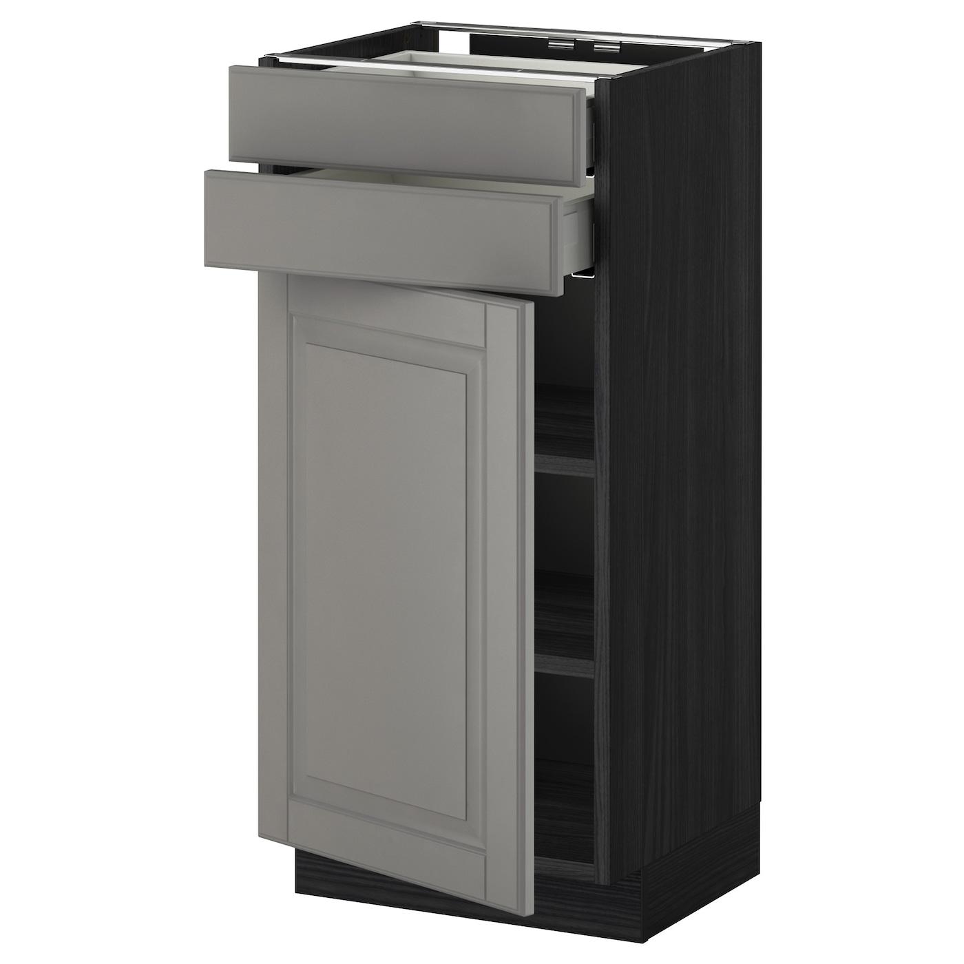 Metod maximera base cabinet w door 2 drawers black bodbyn for Black kitchen base cabinets