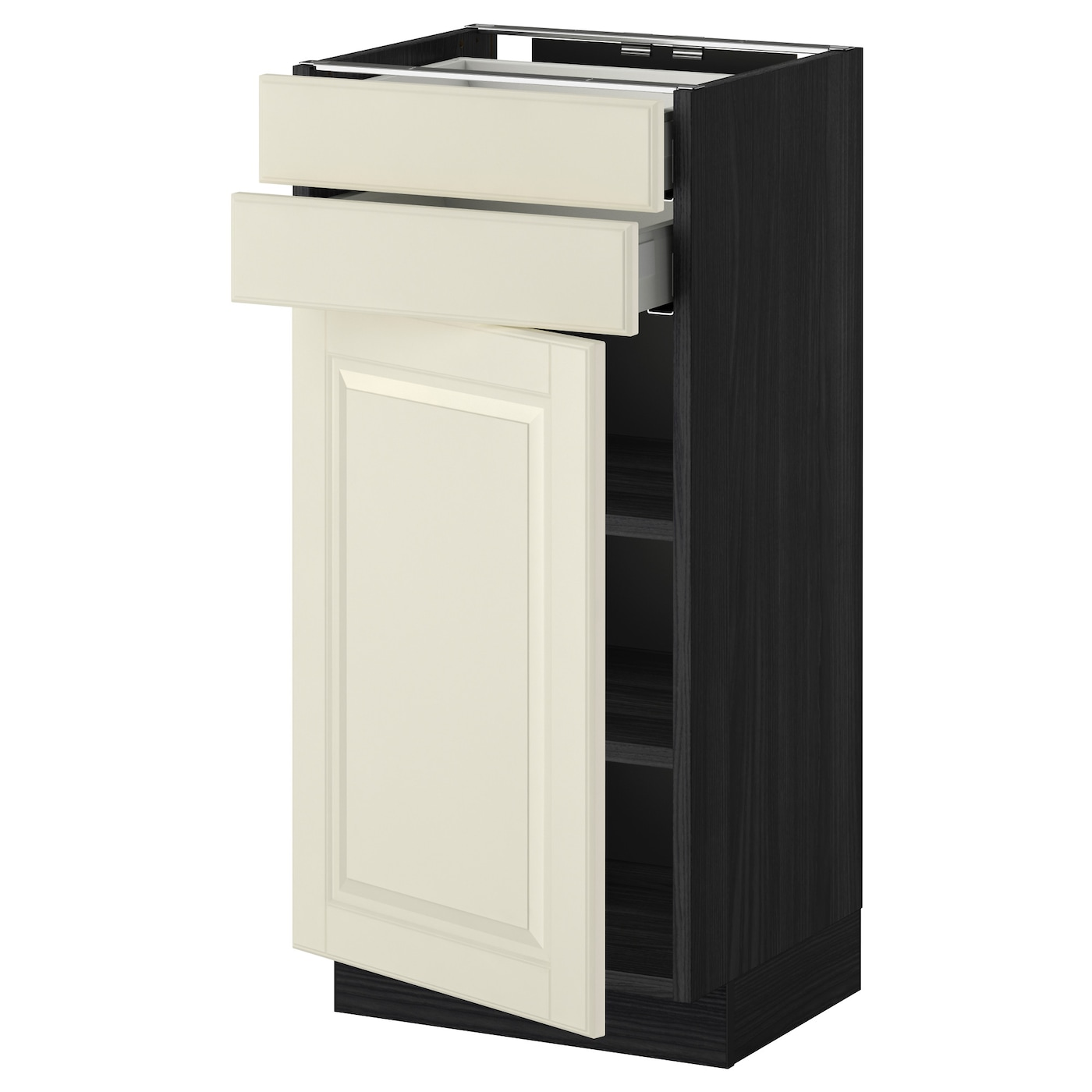 metod maximera base cabinet w door 2 drawers black bodbyn off white 40 x 37 cm ikea. Black Bedroom Furniture Sets. Home Design Ideas