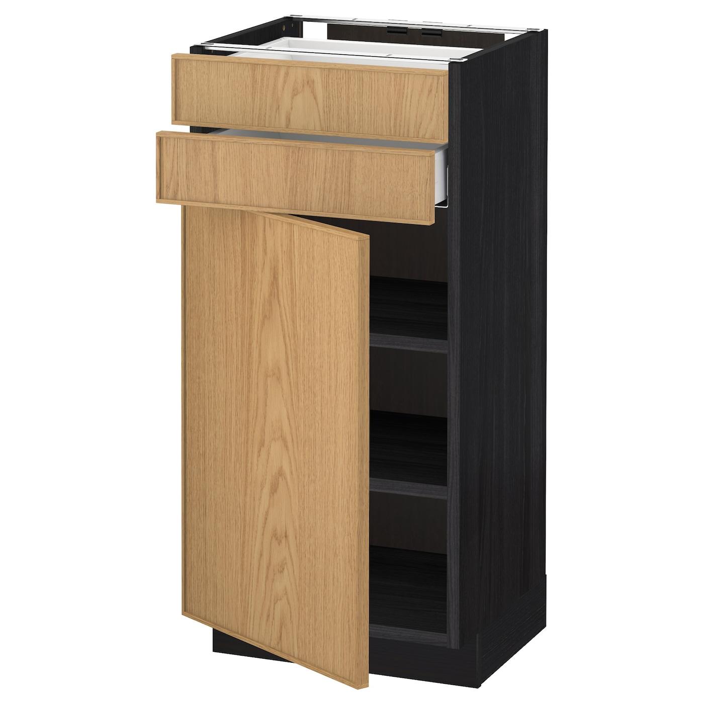 Metod maximera base cabinet w door 2 drawers black ekestad for Ikea base cabinets