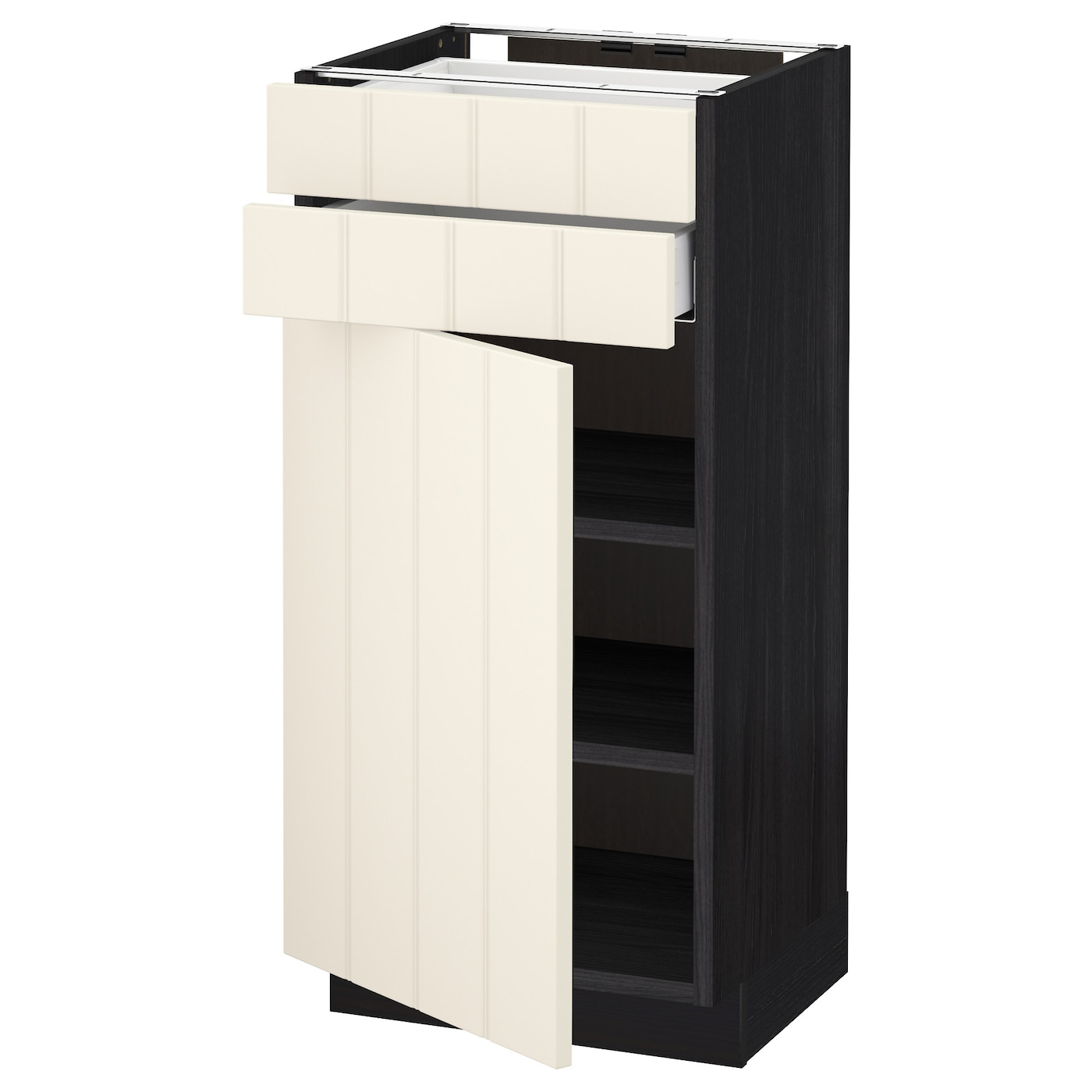 Metod maximera base cabinet w door 2 drawers black hittarp for Black kitchen base cabinets