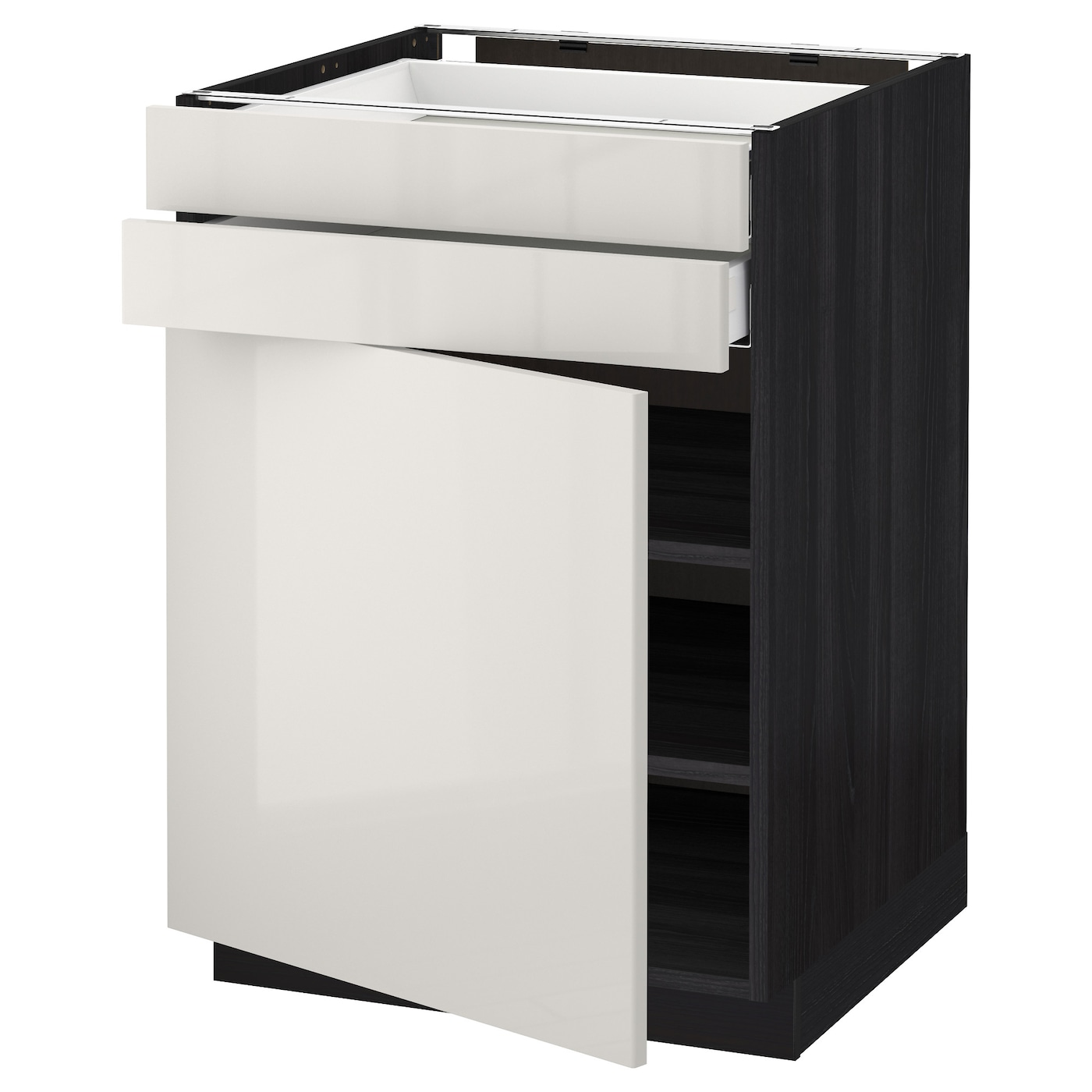 Ringhult Grey Kitchen: METOD/MAXIMERA Base Cabinet W Door/2 Drawers Black