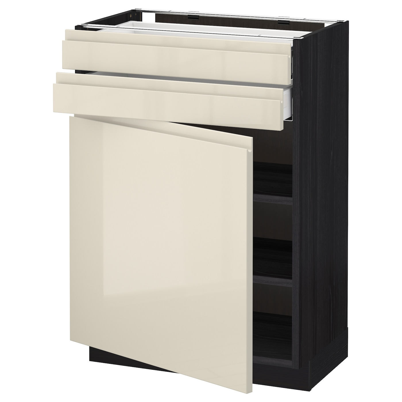 Metod Maximera Base Cabinet W Door 2 Drawers Black Voxtorp High Gloss Light Beige 60x37 Cm Ikea