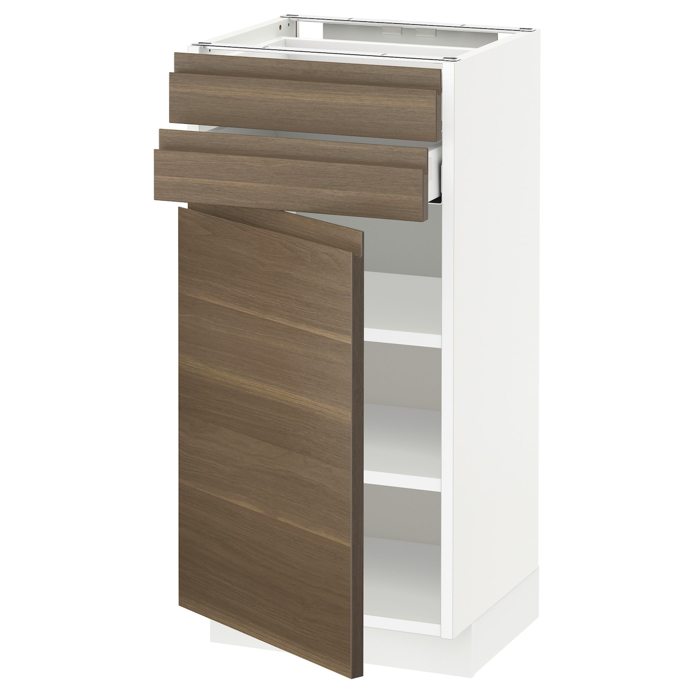 Walnut Mixed Material Ikea Kitchen: METOD/MAXIMERA Base Cabinet W Door/2 Drawers White/voxtorp