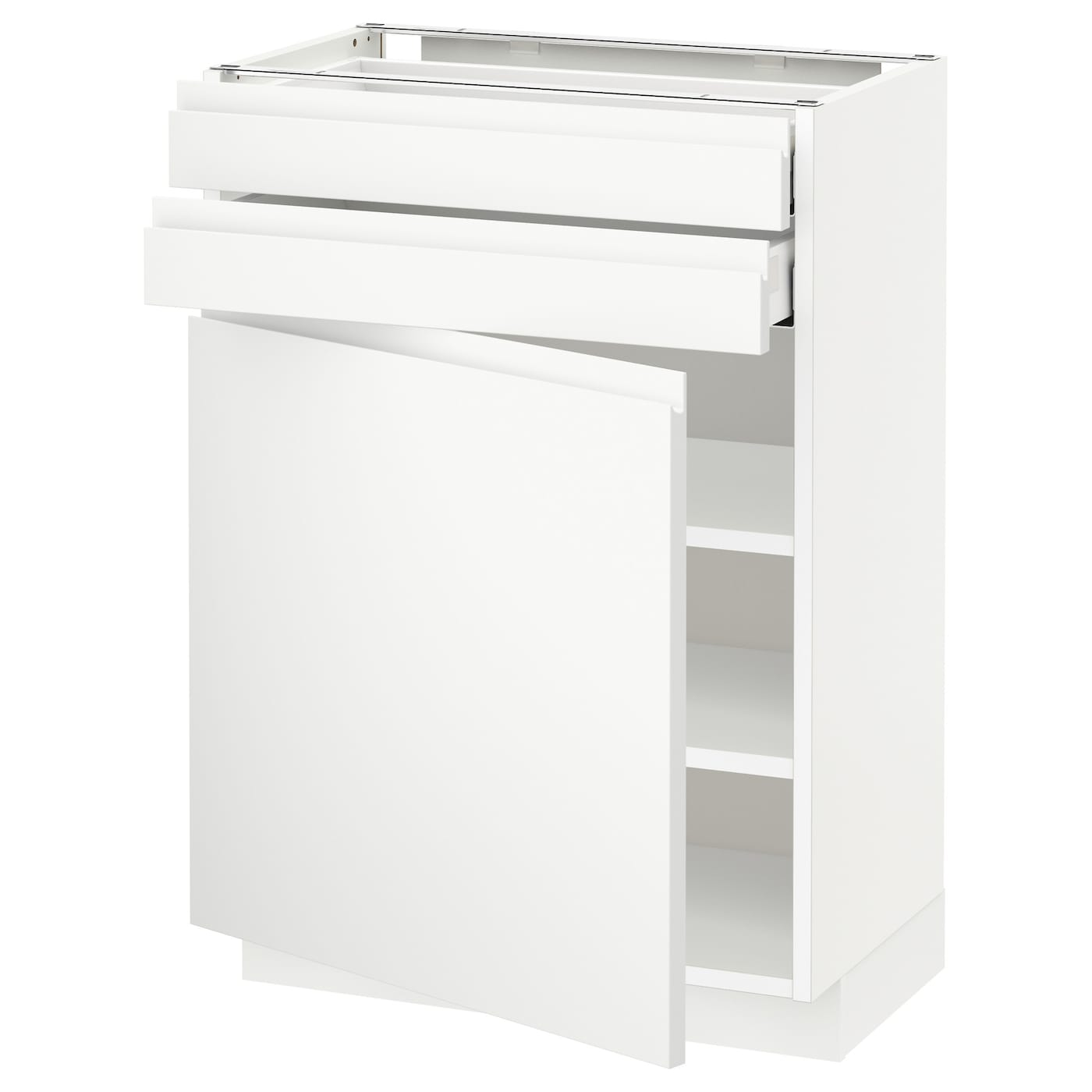 metod maximera base cabinet w door 2 drawers white voxtorp white 60x37 cm ikea. Black Bedroom Furniture Sets. Home Design Ideas