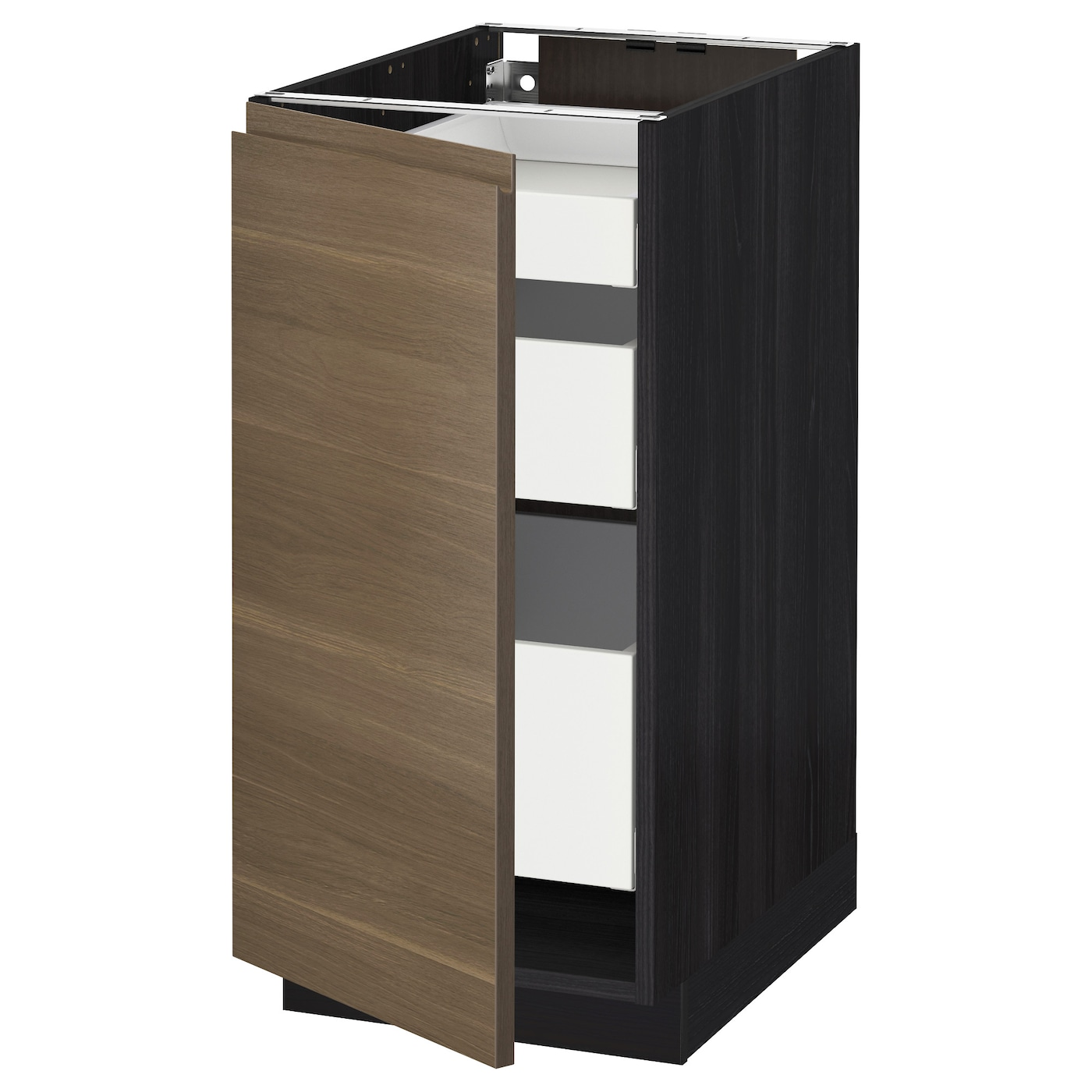 Metod maximera base cabinet with 1 door 3 drawers black for Black kitchen base cabinets