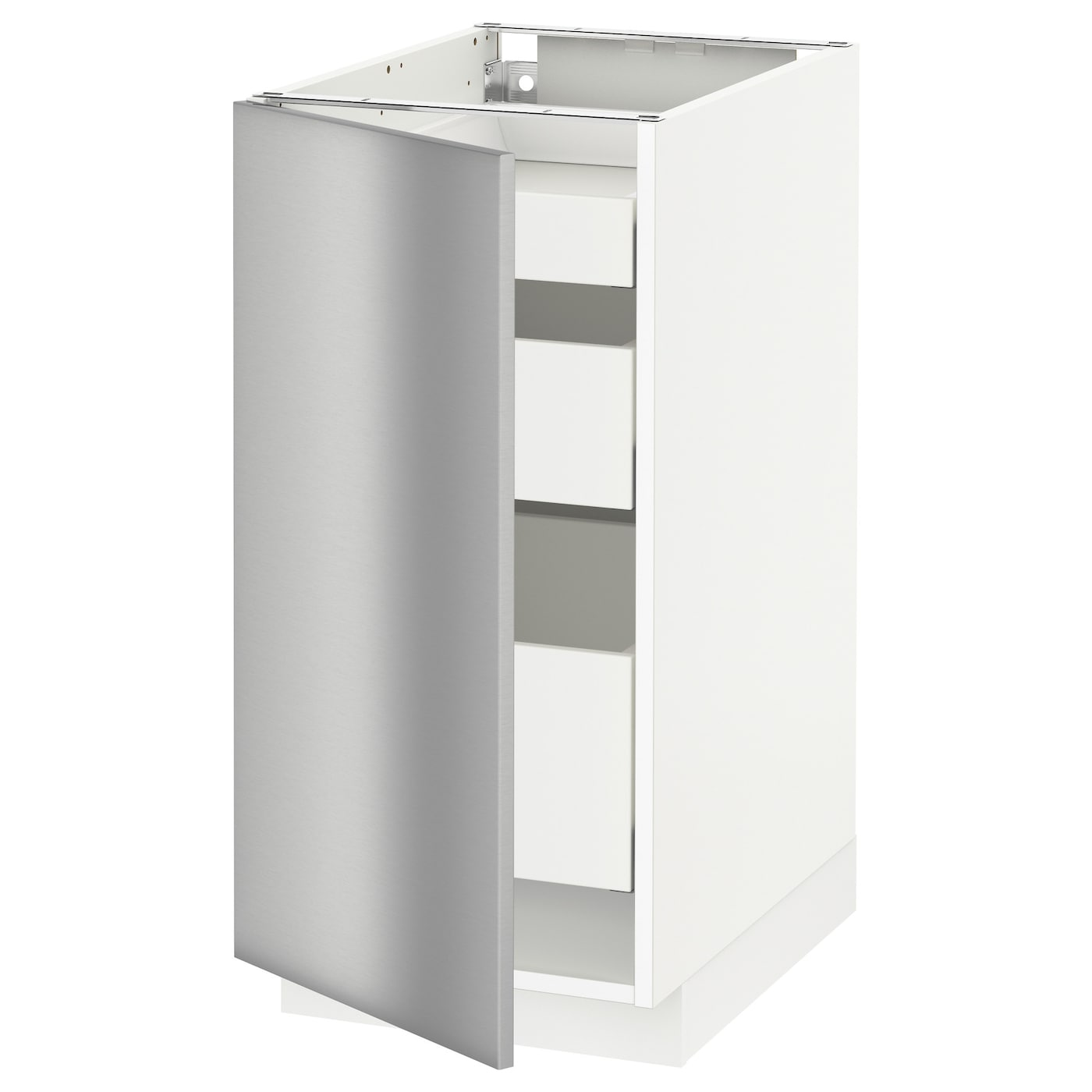 Metod maximera base cabinet with 1 door 3 drawers white for Stainless steel kitchen base cabinets