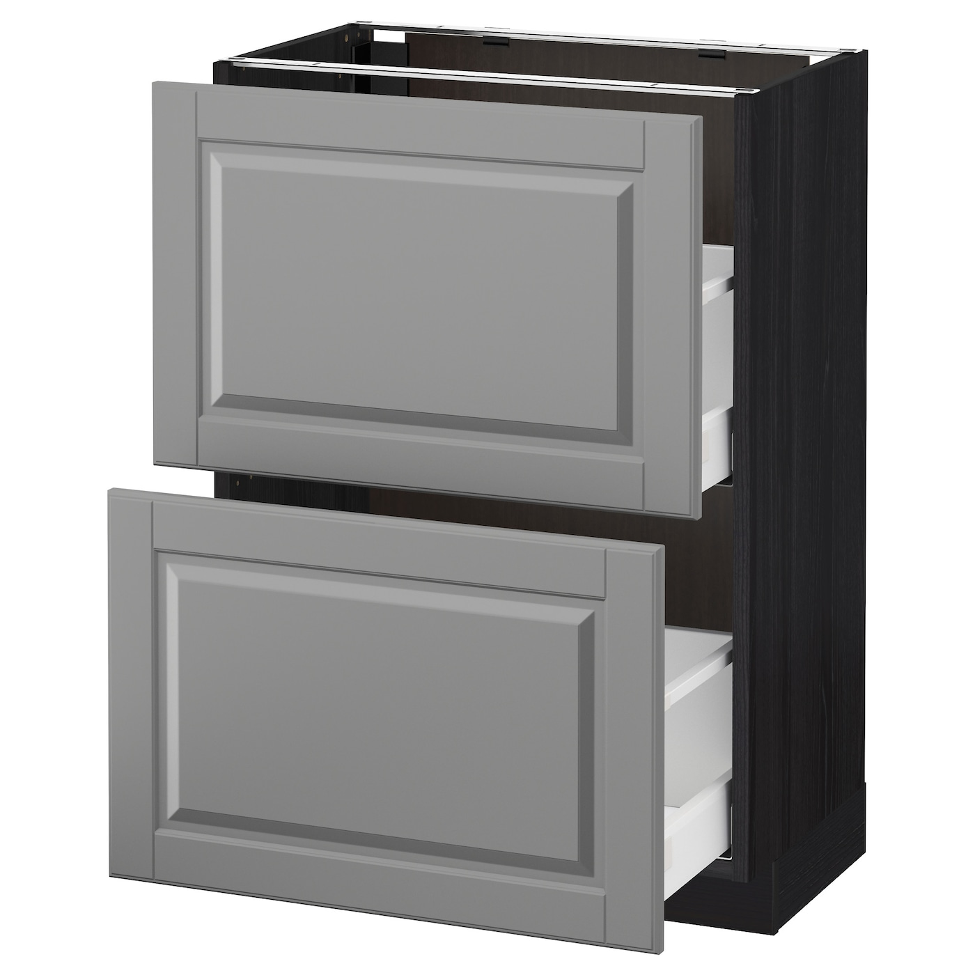 metod maximera base cabinet with 2 drawers black bodbyn grey 60 x 37 cm ikea. Black Bedroom Furniture Sets. Home Design Ideas