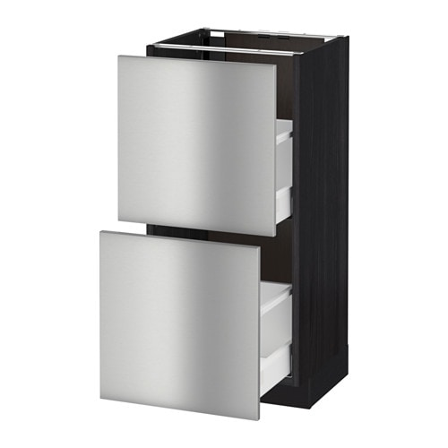Stainless Steel Kitchen Base Cabinets: METOD/MAXIMERA Base Cabinet With 2 Drawers Black/grevsta