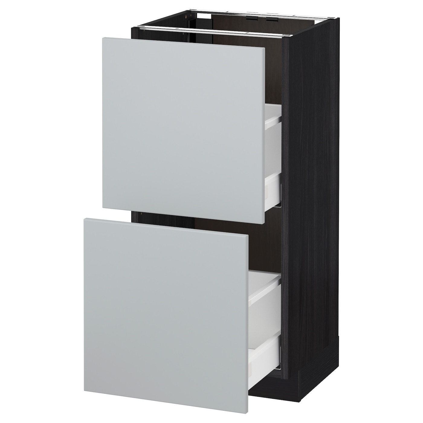 metod maximera base cabinet with 2 drawers black veddinge grey 40 x 37 cm ikea. Black Bedroom Furniture Sets. Home Design Ideas