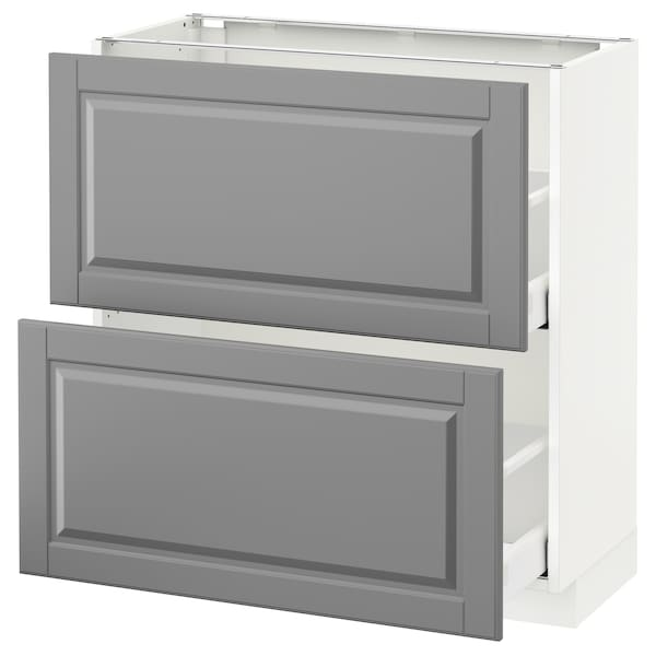 METOD / MAXIMERA Base cabinet with 2 drawers, white/Bodbyn grey, 80x37 cm