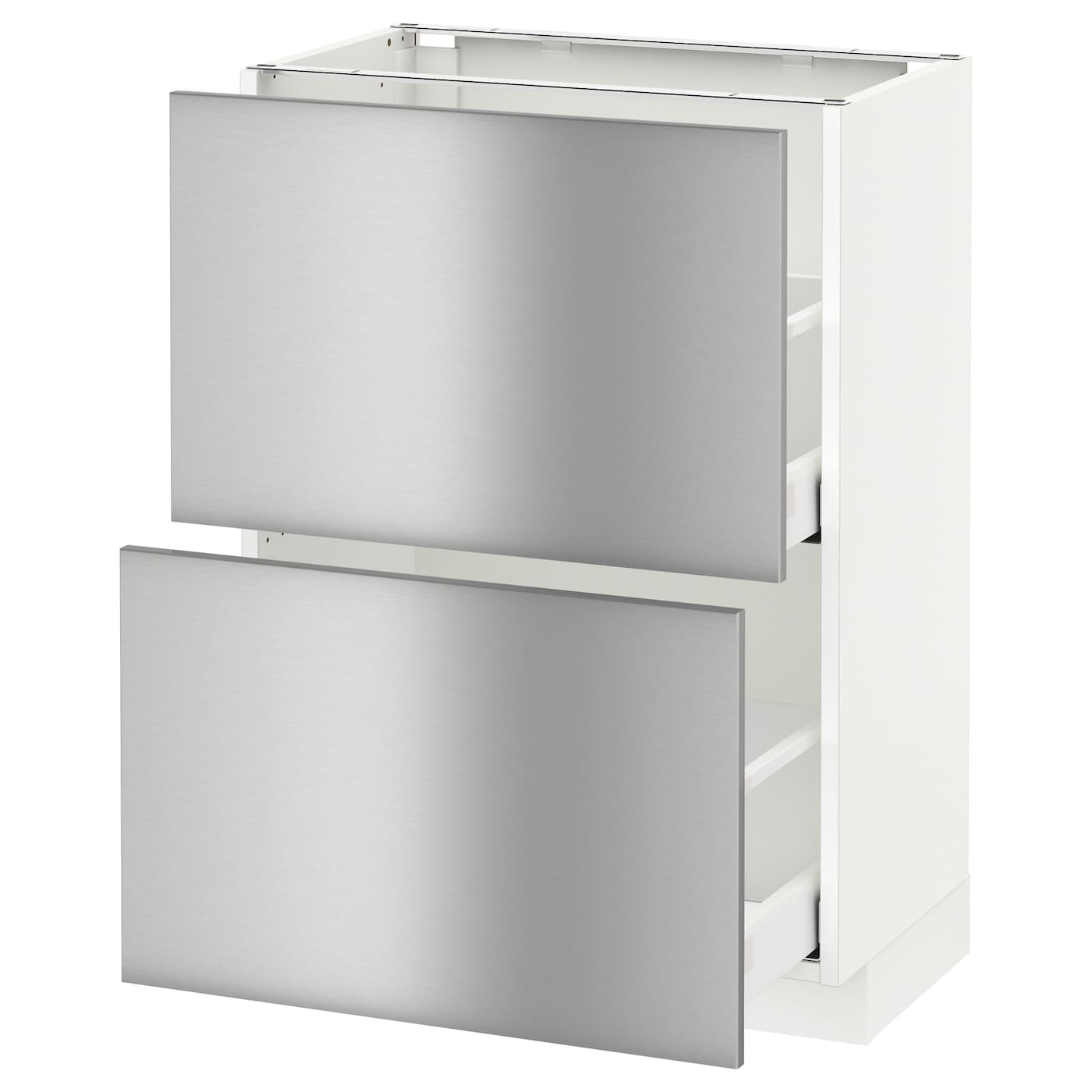 Metod maximera base cabinet with 2 drawers white grevsta for Stainless steel kitchen cabinet price