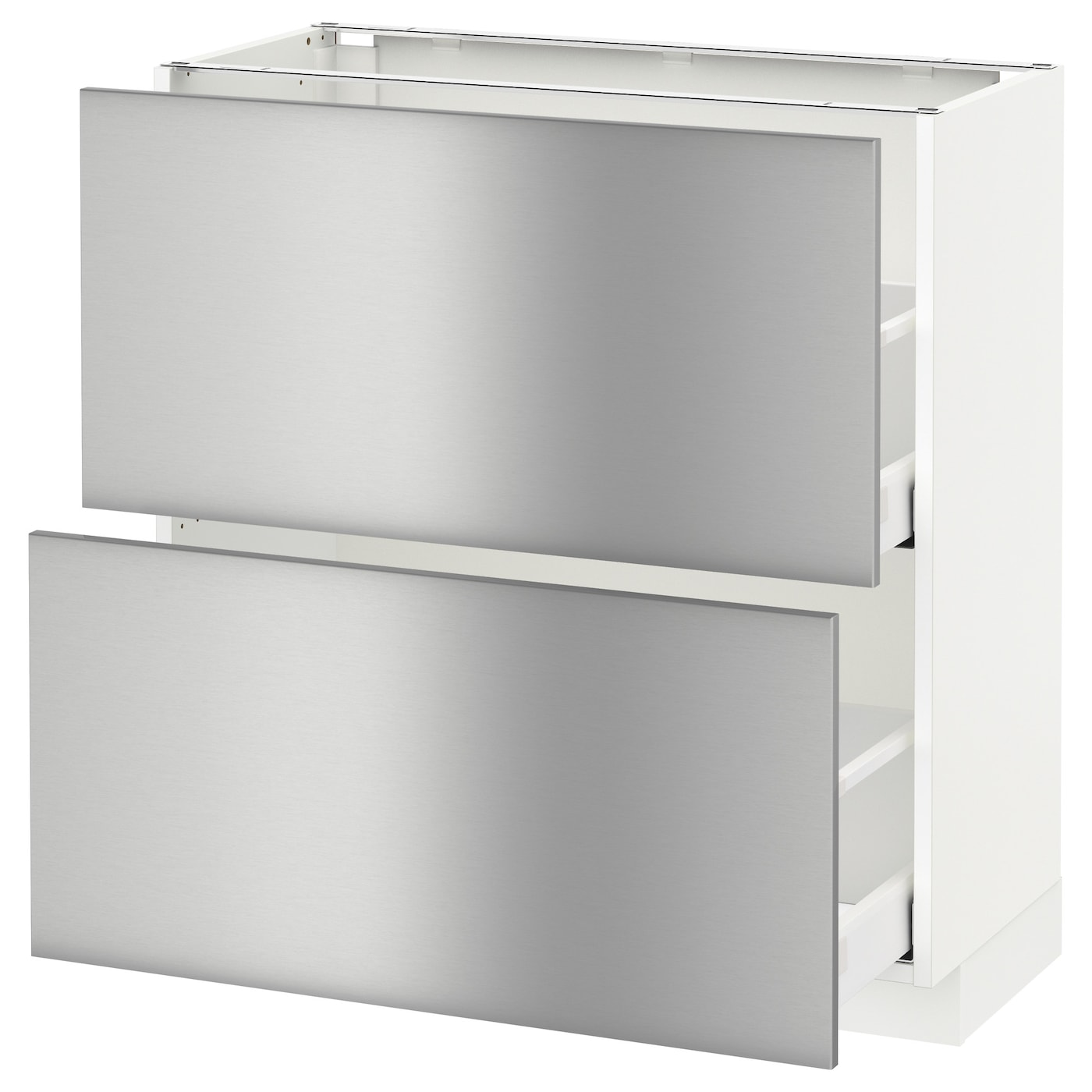 Stainless Kitchen Cabinet: METOD/MAXIMERA Base Cabinet With 2 Drawers White/grevsta