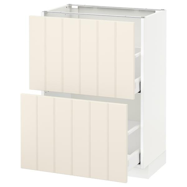 METOD / MAXIMERA Base cabinet with 2 drawers, white/Hittarp off-white, 60x37 cm